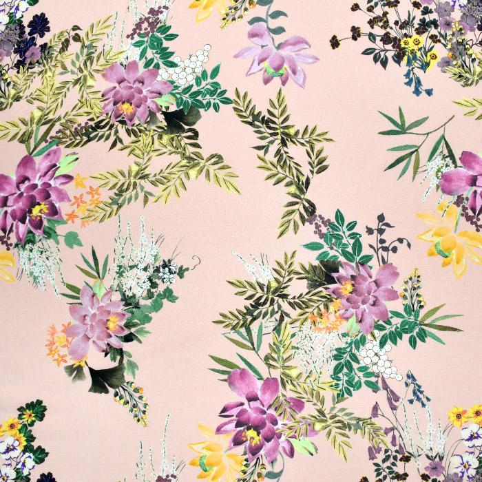 Tkanina, viskoza, cvetlični, 22684-5, roza