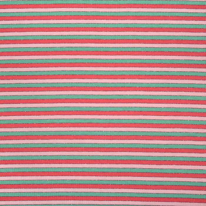 Jersey, bombaž, črte, 227899-004, zeleno-roza