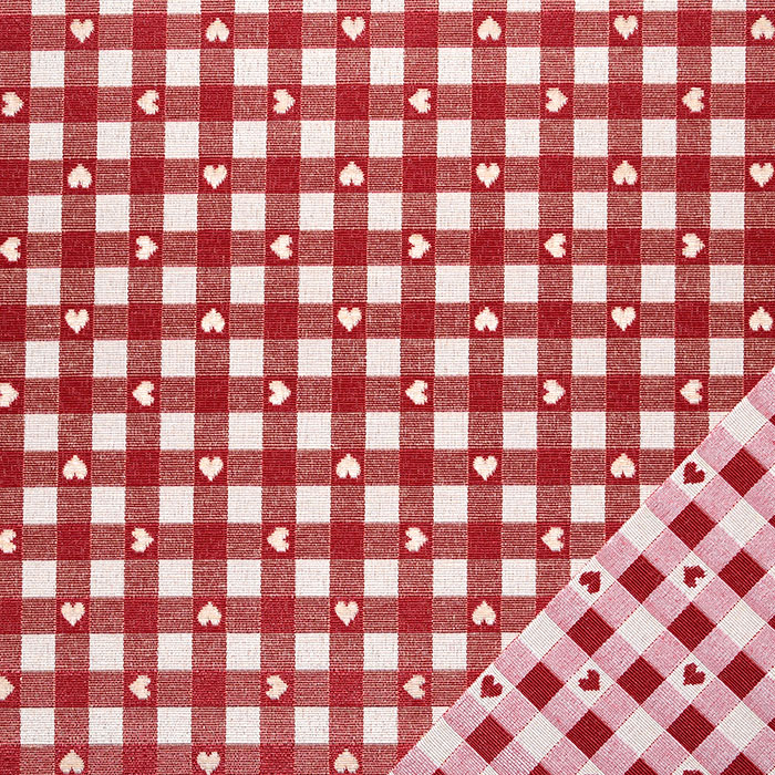 Deko žakard, obojestranski, kare, 22813-29, rdeča