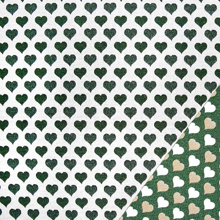 Deko žakard, obojestranski, srčki, 22820-35, zelena