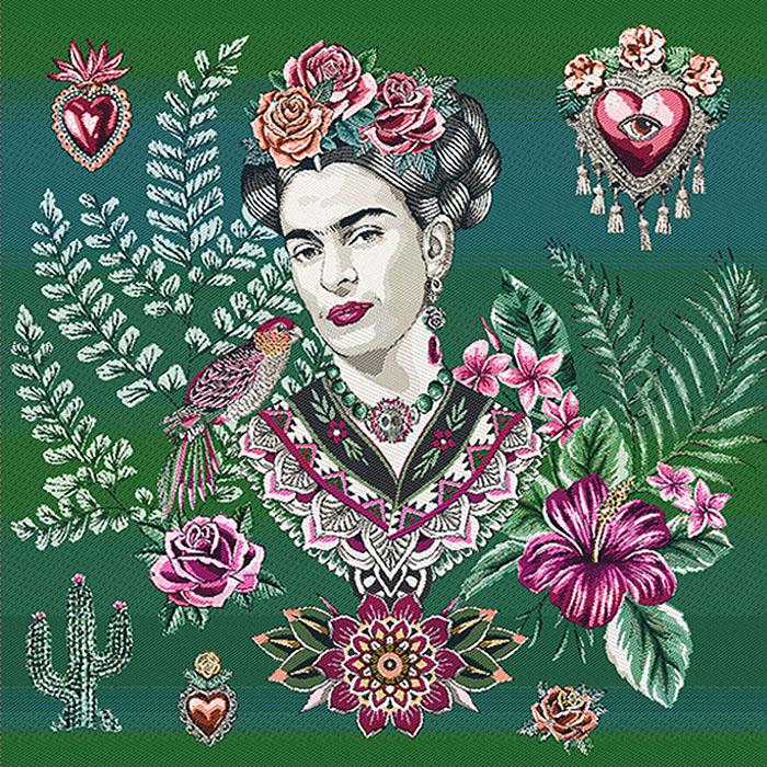 Deko žakard, panel, Frida Kahlo, 22077-4, zelena