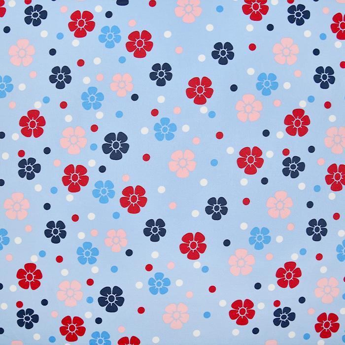 Saten, bombaž, cvetlični, 22521-2, svetlo modra