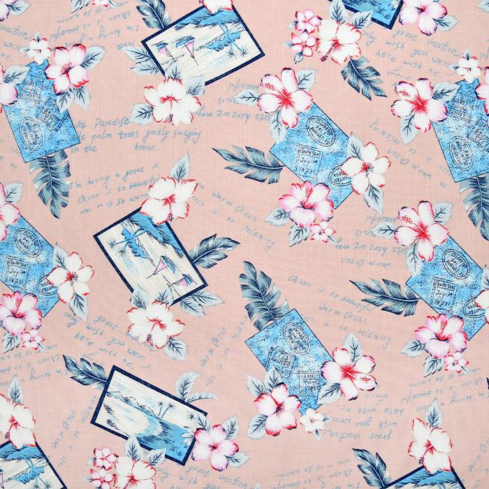 Lan, bombaž, tisk, 22521-13, roza