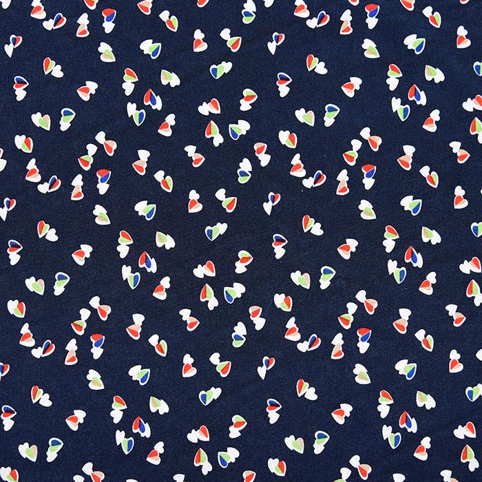 Tkanina, tanjša, srčki, 22521-39, modra