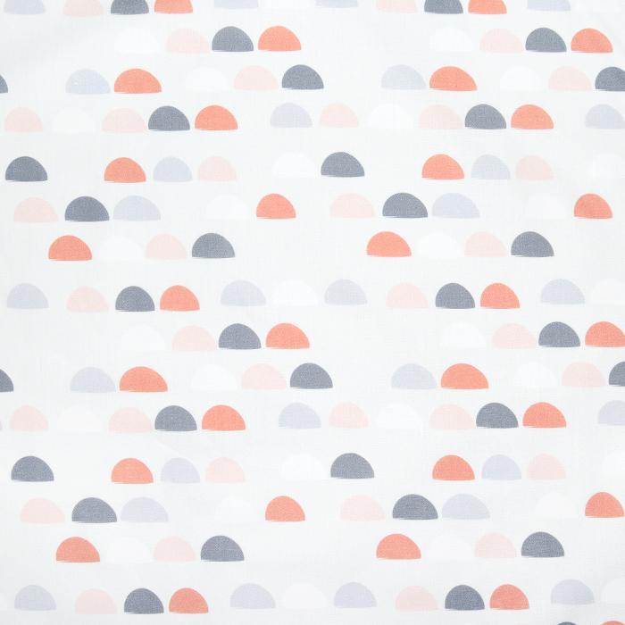 Bombaž, poplin, geometrijski, 23035-02, sivo-roza