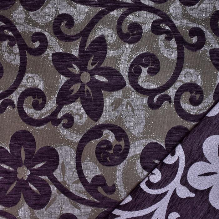 Deko žakard, obojestranski, cvetlični, 23104-002, vijola