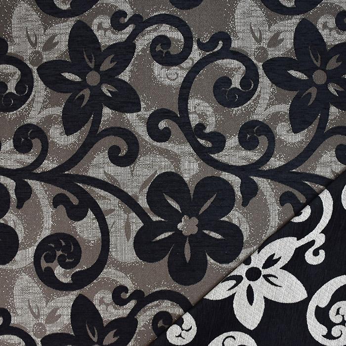 Deko žakard, obojestranski, cvetlični, 23104-200, črna