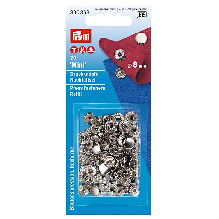 Pritiskači mini, Prym, 390363, 8 mm, srebrna