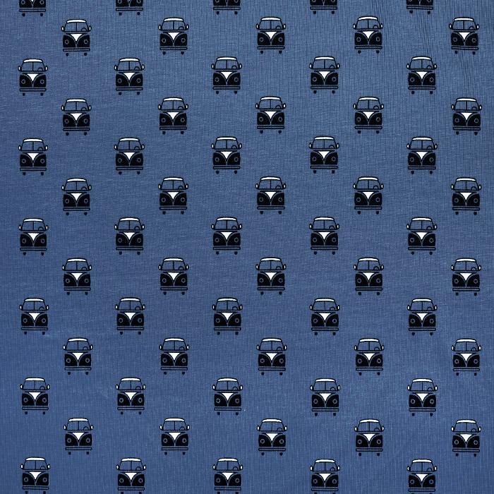 Jersey, bombaž, retro, 23251-15, modra