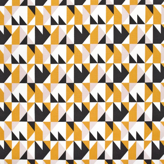 Bombaž, poplin, geometrijski, 23294-08, oker