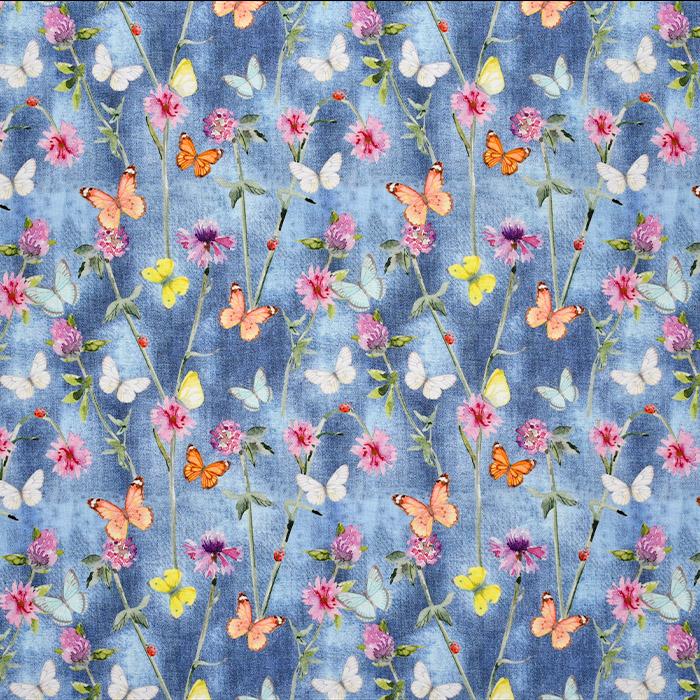 Bombaž, poplin, digitalni tisk, cvetlični, 23301-150, modra
