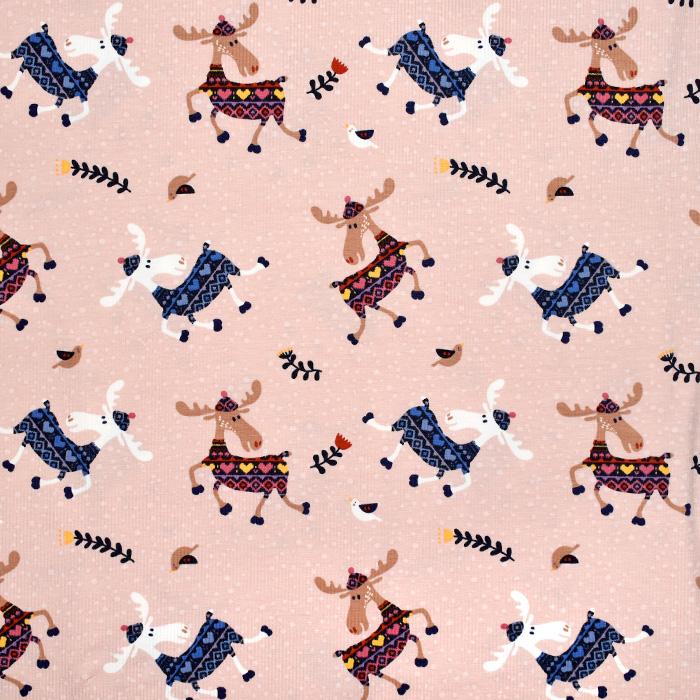 Jersey, bombaž, živalski, 23326-113, roza