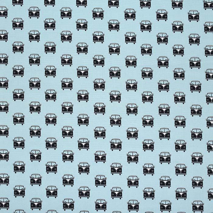 Bombaž, poplin, retro, 23279-09, svetlo modra