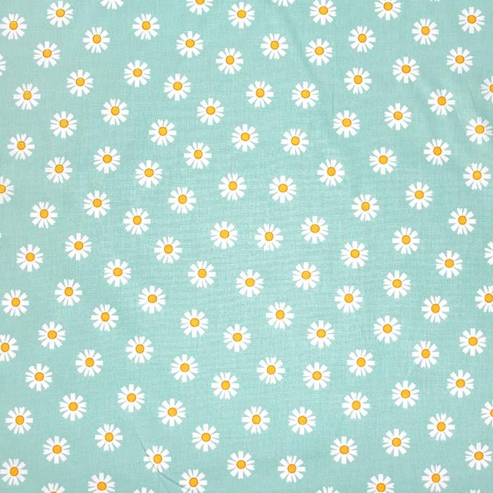 Bombaž, poplin, cvetlični, 23414-005, mint