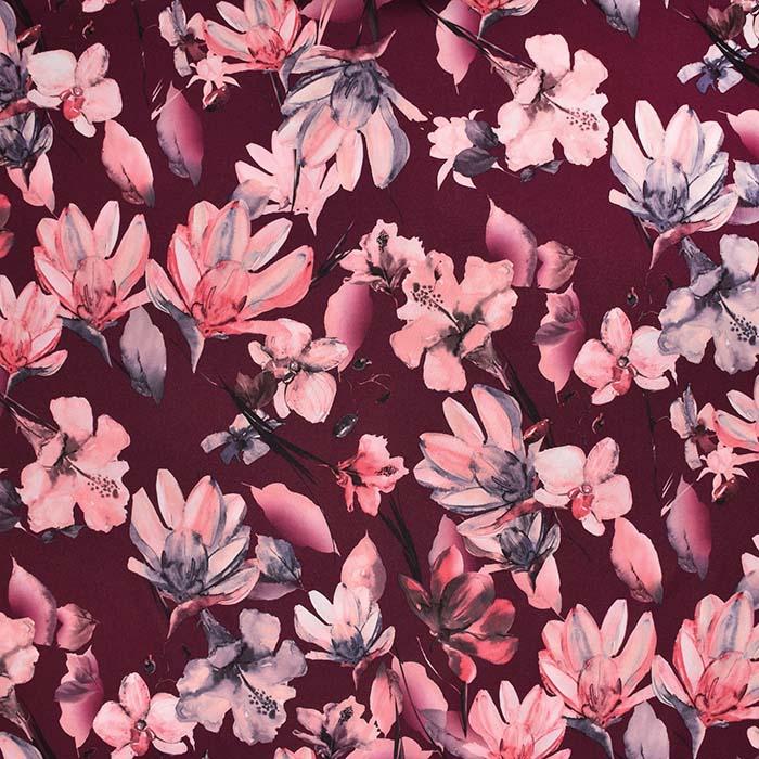 Tkanina, tanjša, cvetlični, 23426-001, bordo