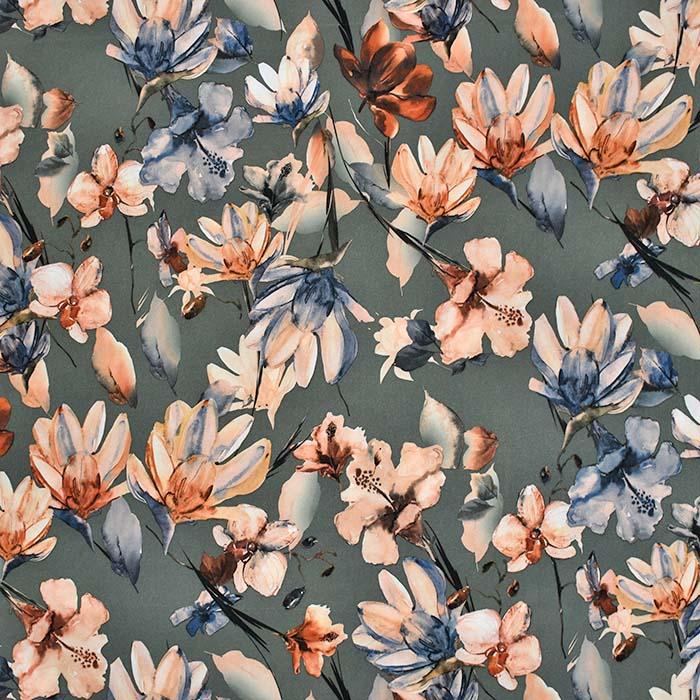 Tkanina, tanjša, cvetlični, 23426-002, zelena