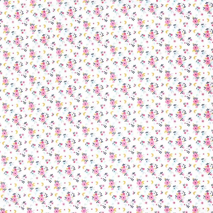 Bombaž, poplin, cvetlični, 23494, bela