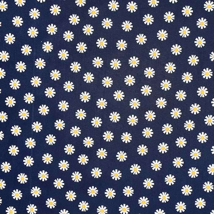 Bombaž, poplin, cvetlični, 23414-014, temno modra