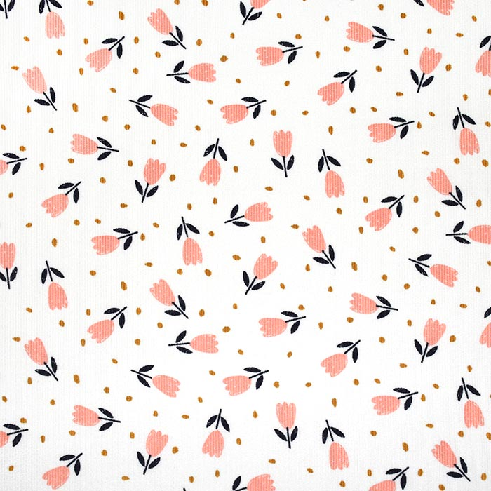 Žamet, bombaž, cvetlični, 23544-011, bela