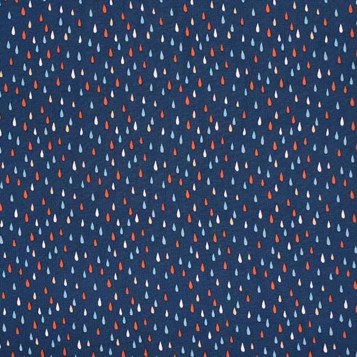 Jersey, bombaž, tisk, 23680-15, modra