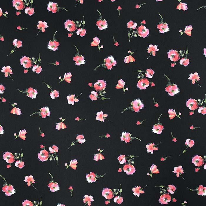 Saten, mikropoliester, cvetlični, 23706-002, črna