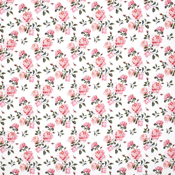 Bombaž, poplin, cvetlični, 24273-02, bela
