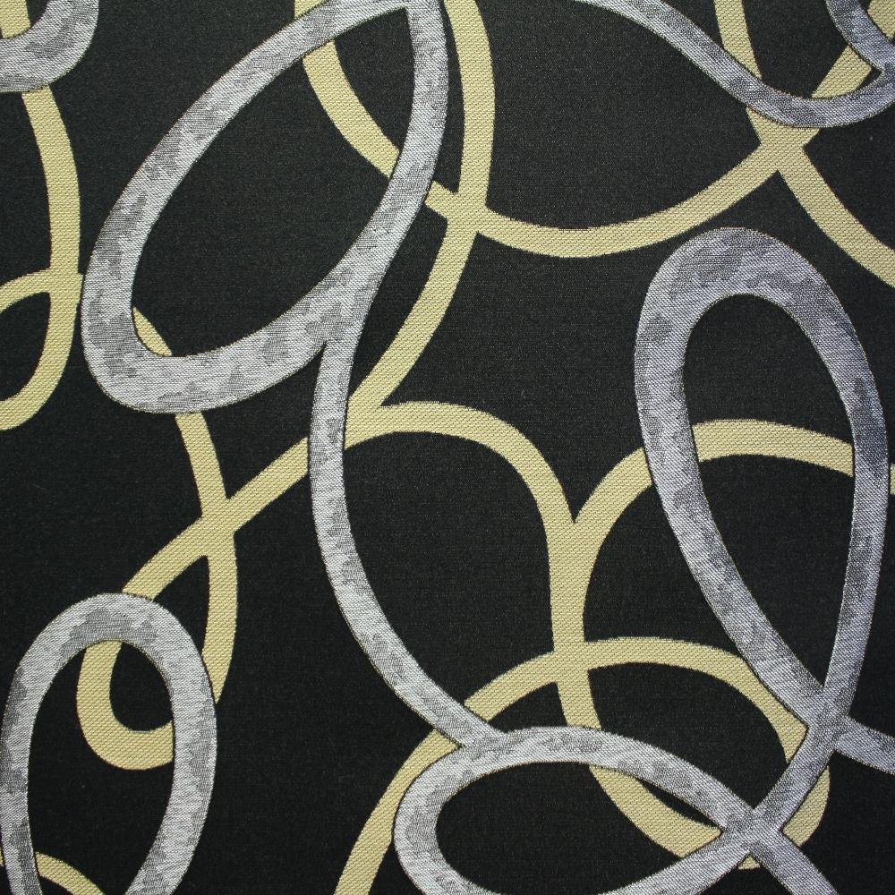 Deco jacquard, black curves, 12598-6240