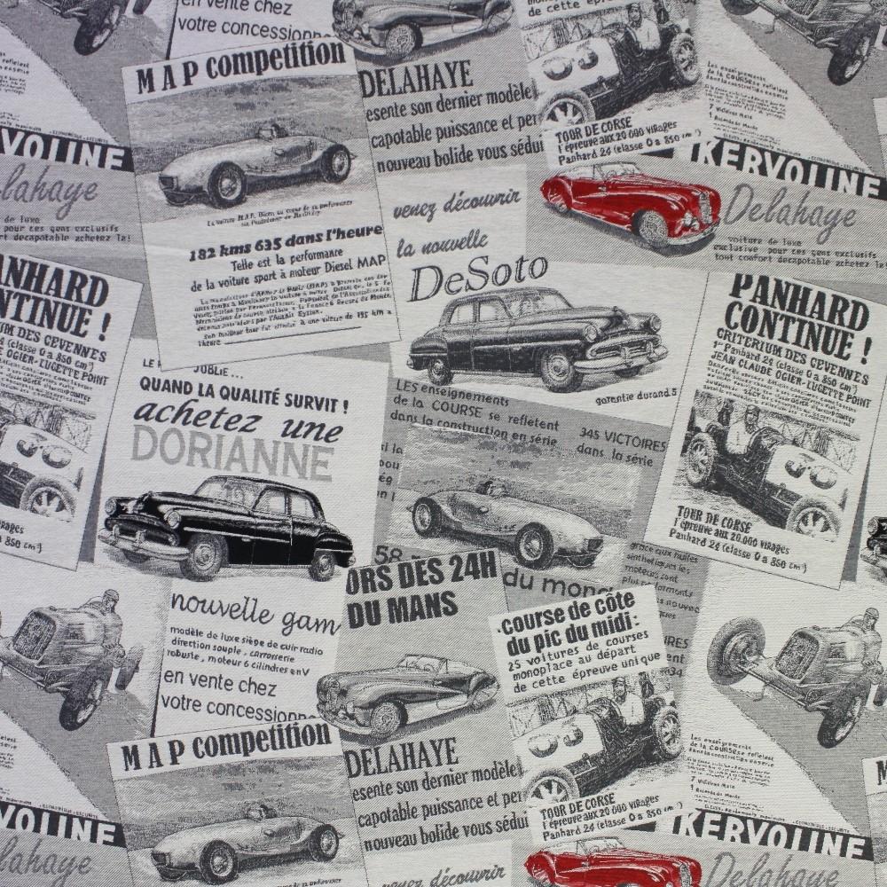 Deco jacquard, retro cars, 13086-01