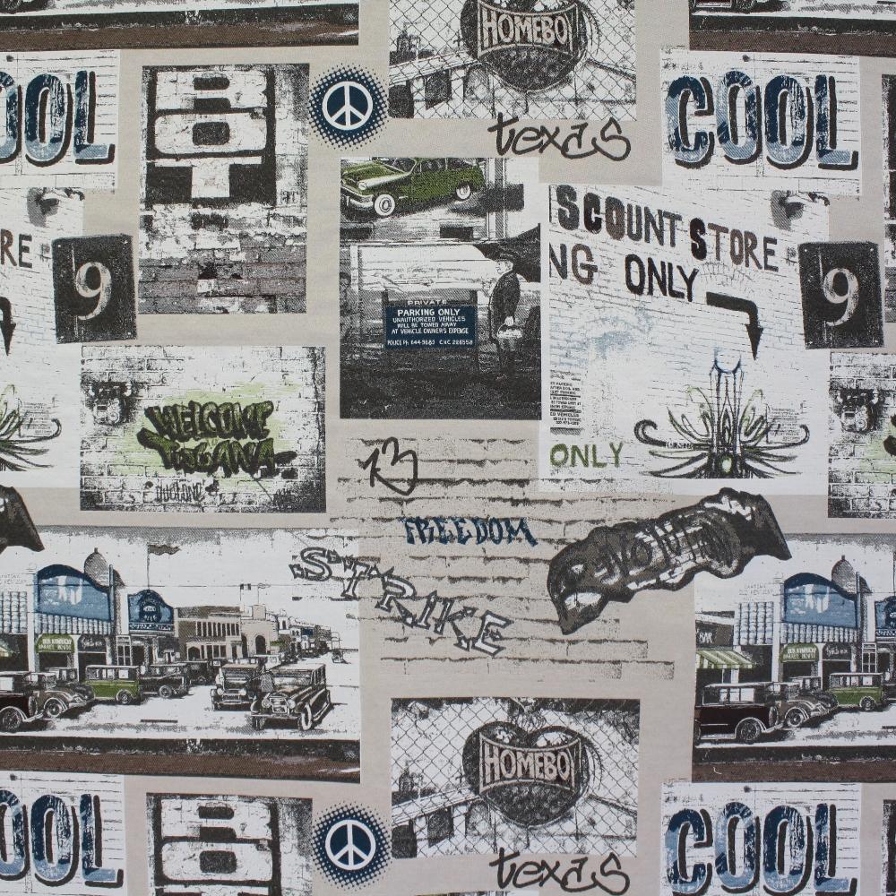 Deco jacquard, retro cars, 13314-01