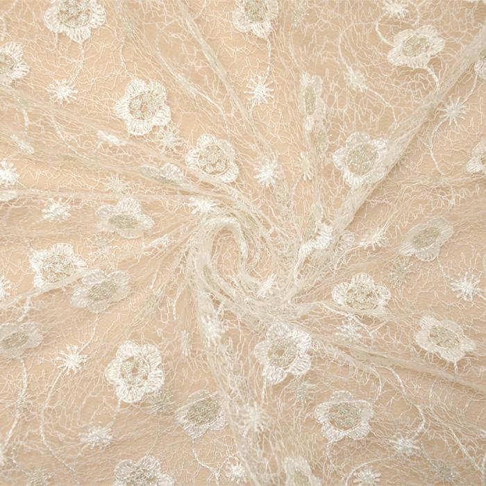 Čipka, cvetlični, 13519, srebrno bela