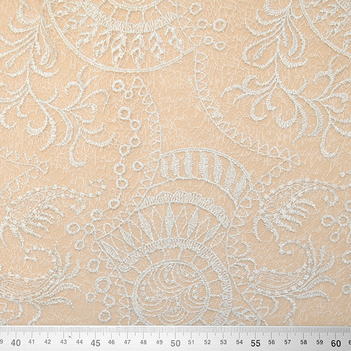 Čipka, cvetlični, 13528 , srebrna