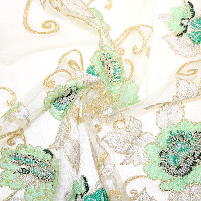 Čipka z bleščicami, 13542, krem, zelena