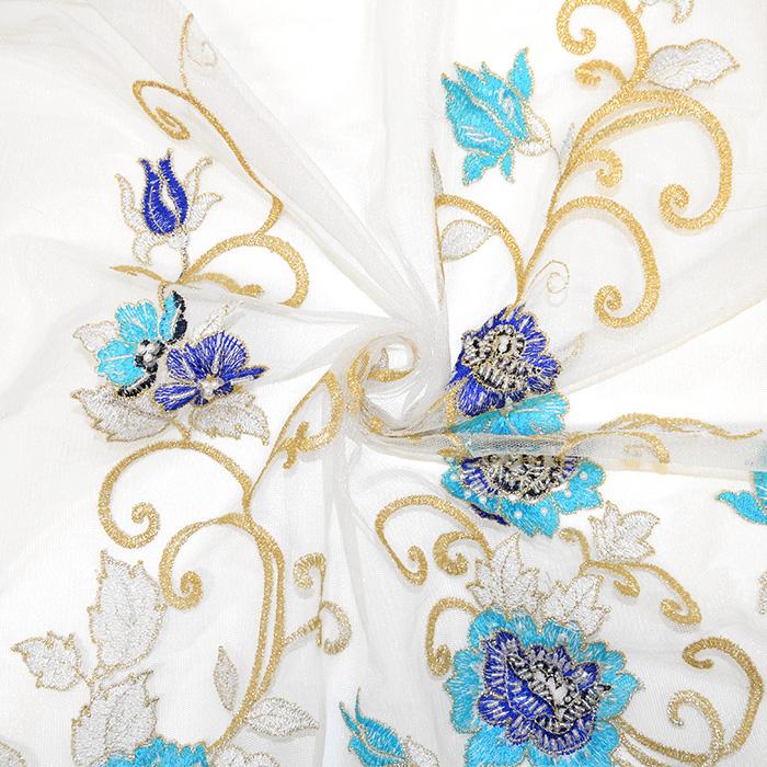 Čipka z bleščicami, 13543, krem, modra
