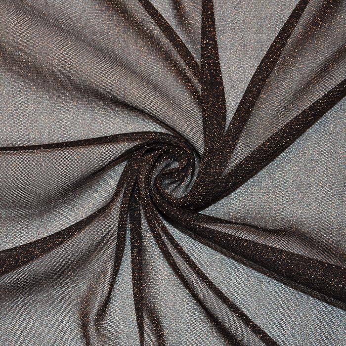 Mreža elastična, poliester, 2649-6, črno zlata