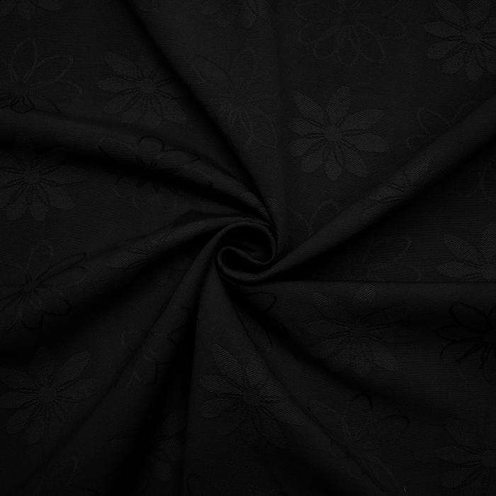 Deko žakard, rože, 11938, črna