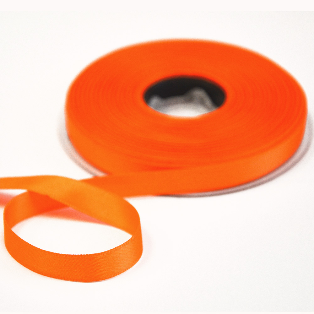Trak, saten, 10mm, 15458-2003, fluo oranžna