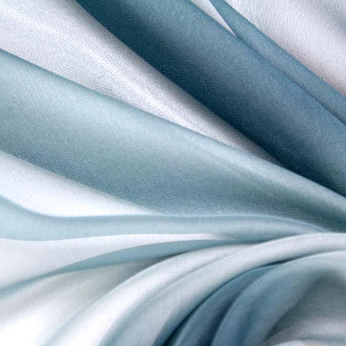 Šifon, poliester, večbarven, 10769, modra siva bela