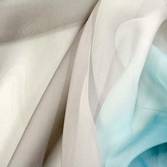 Šifon, poliester, večbarven, 10780, modra siva