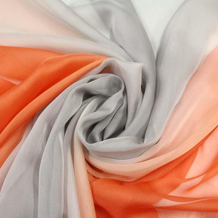 Šifon, poliester, večbarven, 10781, oranžna siva