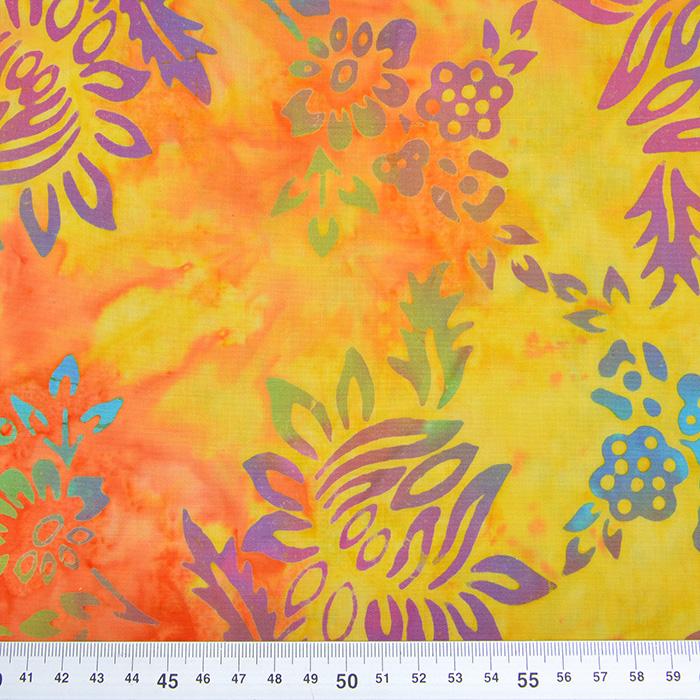 Bombaž, poplin, batik, cvetlični, 15657-40