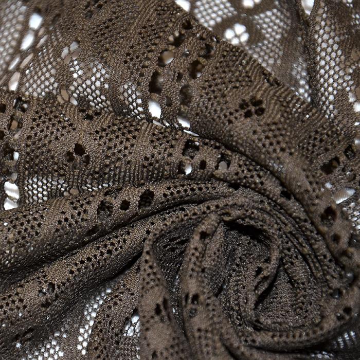 Čipka, elastična, 2649-53, rjava