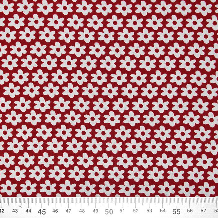 Bombaž, poplin, rožice, 16048-018, bordo rdeča