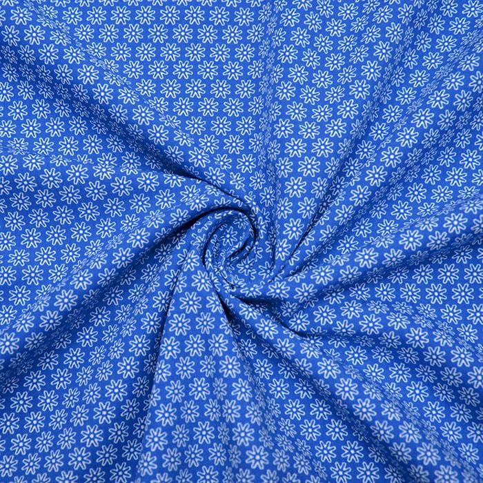 Bombaž, poplin, cvetlični, 16048-207, modra