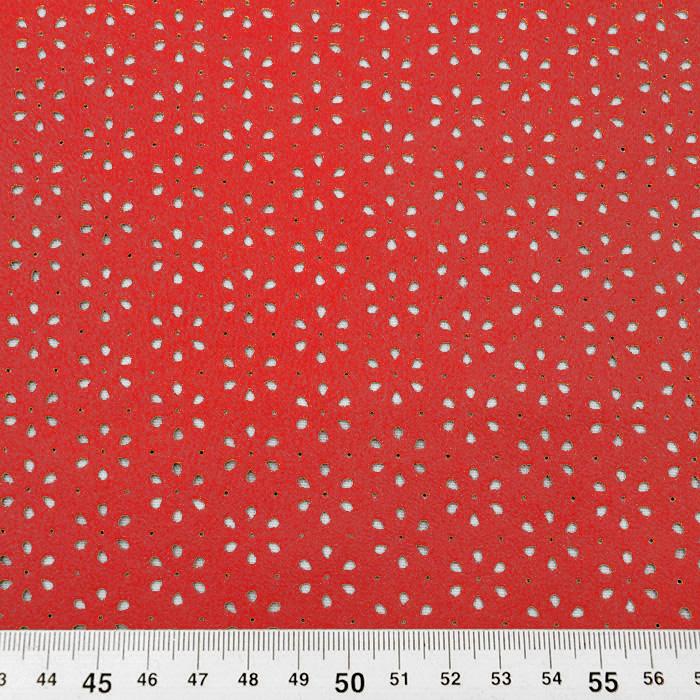 Semiš, brušeno pletivo, cvjetni, 16120-015, crvena