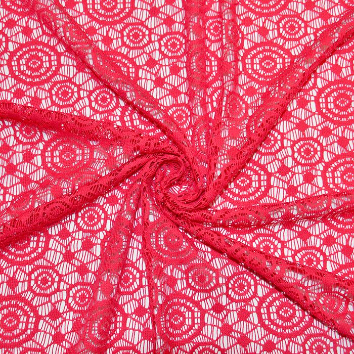 Čipka, geometrijska, krogi, 16418-404, koralna