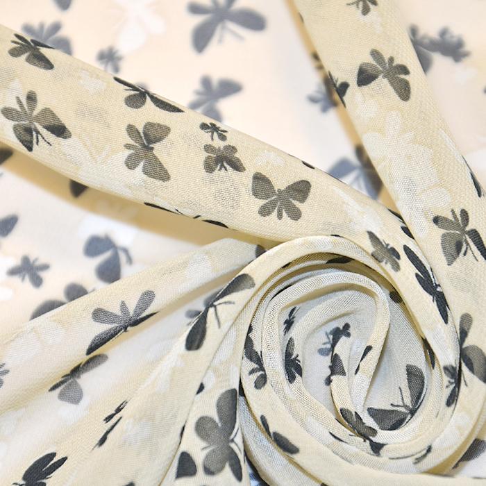 Šifon, metulji, 16505-3, smetana