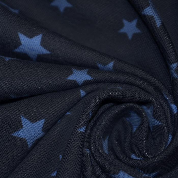 Jersey, bombaž, zvezde, 16365-008, modra
