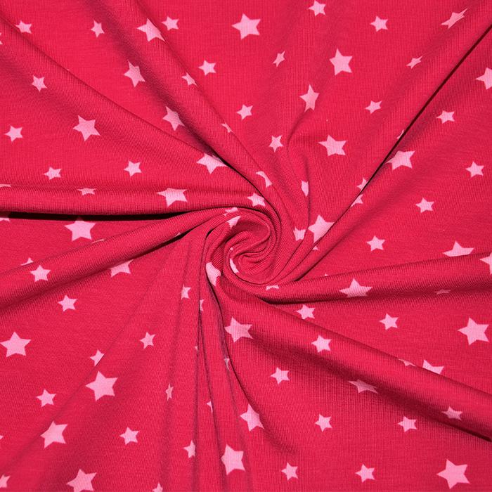 Jersey, bombaž, zvezde, 16365-017, fuksija