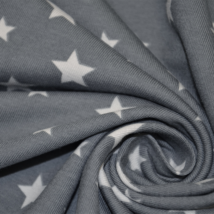Jersey, bombaž, zvezde, 16365-063, siva