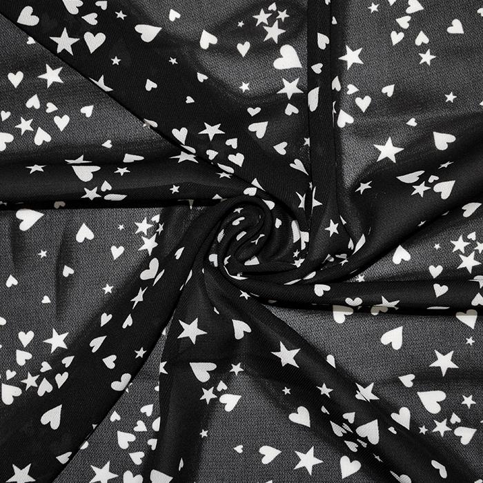 Šifon, zvezde, srčki, 17394, črna